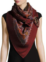 Alexander McQueen Reversible Paisley & Leopard Square Scarf