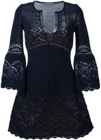 Alberta Ferretti crochet V-neck dress - women - Cotton/Polyester - 38
