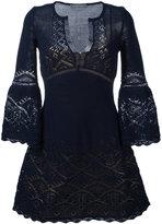 Alberta Ferretti crochet V-neck dress
