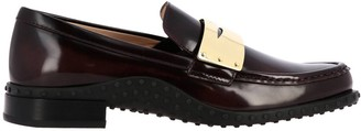 Tod's Loafers In Brushed Leather With Metal Mask And Rubber Sole
