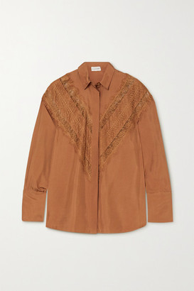 By Malene Birger Lueta Satin And Lace Blouse - Copper