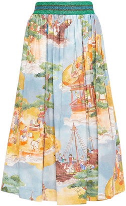Stella Jean Gathered Printed Cotton-blend Canvas Midi Skirt