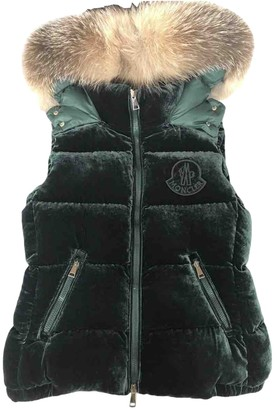 Moncler Fur Hood Green Velvet Coat for Women