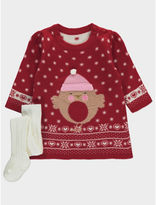 George Knitted Robin Christmas Dress and Tights Set