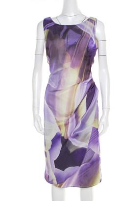 Armani Collezioni Purple Printed Silk Draped Sleeveless Dress L