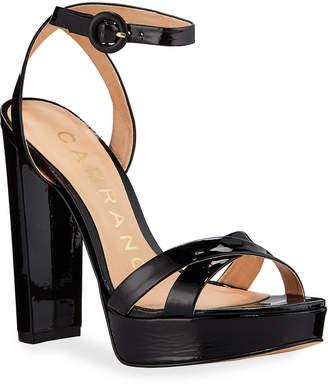 Lee Carrano Patent Ankle-Wrap Platform Sandals