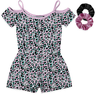 Neatie Kiddie Girls' Rompers - Pink & Turquoise Leopard Off-Shoulder Romper & Scrunchie Set - Girls