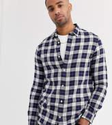 Burton Menswear Big & Tall checked shirt in navy & stone
