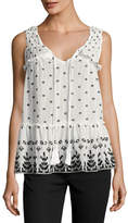 Derek Lam 10 Crosby Sleeveless Printed Voile Ruffle Blouse, White
