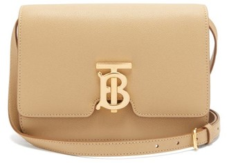 Burberry Tb Monogram Small Grained-leather Cross-body Bag - Beige