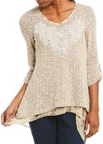 Multiples 3/4 Sleeve Uneven Hem Tweed Knit Top
