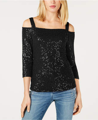 INC International Concepts Inc Sequined Cold-Shoulder Top