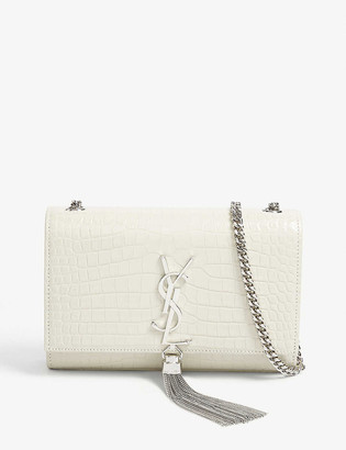 Saint Laurent Kate small monogram crocodile-embossed leather shoulder bag
