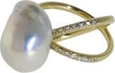 Mizuki Freshwater Pearl And Diamond Crossover Ring