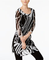 Alfani Jungle Printed Mesh Tunic, Created for Macy's