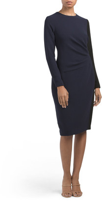 Long Sleeve Crepe Color Block Dress