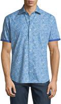 Bugatchi Shaped-Fit Watercolor Short-Sleeve Sport Shirt