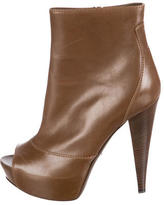 Sergio Rossi Leather Peep-Toe Ankle Boots