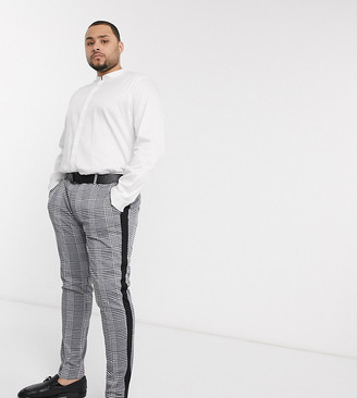 Devils Advocate Plus skinny black and white check side stripe trousers