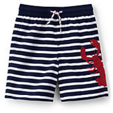 Classic Little Boys Slim Applique Swim Trunks-Marsala Red