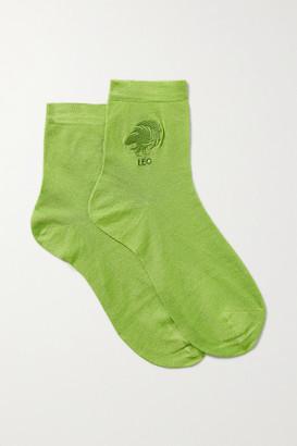 Maria La Rosa Leo Embroidered Silk-blend Socks - Green