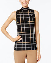 Charter Club Petite Plaid Mock-Neck Shell, Only at Macy's