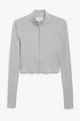 Monki Ribbed knit zip cardigan