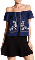 Romeo & Juliet Couture ROMEO &JULIET COUTURE Floral Embroidered Gauze Shirt