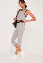 Missguided Crop Heavyweight Legging Contrast Waistband Grey