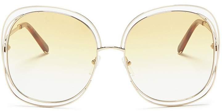 Chloé 'Carlina' overlap wire rim square sunglasses