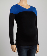 Cobalt & Black Color Block Maternity V-Neck Top