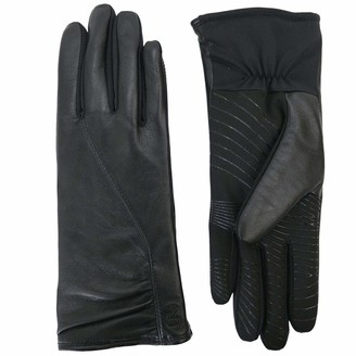 URBAN RESEARCH U|R Powered Womens Gathered Leather & Stretch Touchscreen Gloves