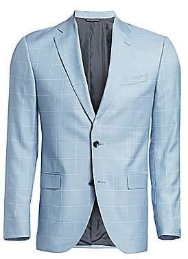 Saks Fifth Avenue Wool & Silk Windowpane Plaid Sportcoat