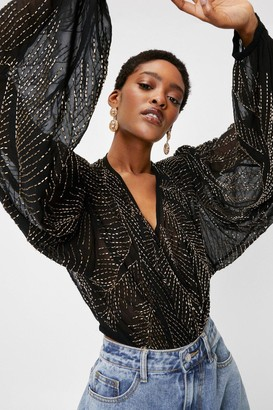 Nasty Gal Womens Beaded V Neck Batwing Sleeve Blouse - Black