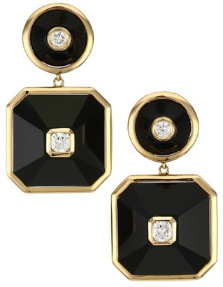 Maria Canale Pyramind 18K Yellow Gold, White Diamond & Black Onyx Double Drop Earrings