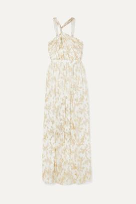 Rachel Zoe Bella Twisted Metallic Fil Coupe Chiffon Gown - Ivory
