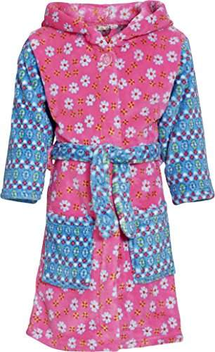 Playshoes Girl's Hooded Fleece Flowers Bathrobe,(Manufacturer Size:98/104)
