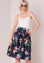 Missy Empire Poppie Navy Floral Skater Midi Skirt