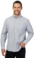 Maine New England Big And Tall Grey Striped Regular Fit Shirt
