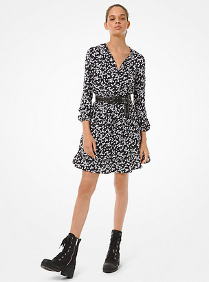 Michael Kors Petal Jacquard Tie-Neck Dress