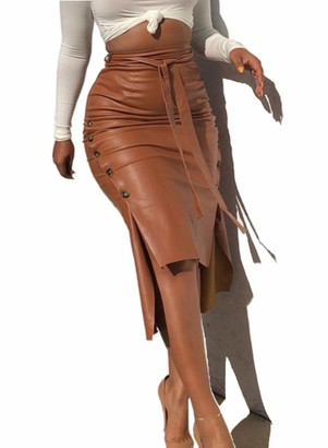 FOBEXISS Women's Elegant High Waist Bodycon Dress Knot Front Side Slit Party Dress Button Up Pu Leather Midi Skirt Brown