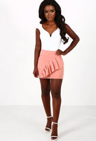 Pink Boutique Now and Later Blush Pink Frill Mini Skirt