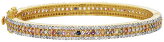 Forever Creations Usa Inc. Forever Creations 18K Gold Over Silver 5.20 Ct. Tw. Diamond & Sapphire Bangle