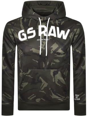 G Star Raw Logo Camo Hoodie Green