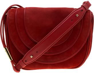 Diane von Furstenberg Red Nubuck Leather Bullseye Crossbody Bag