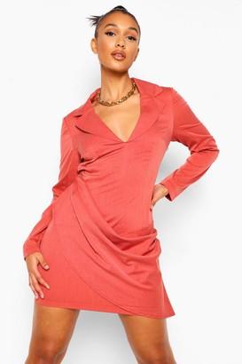 boohoo Woven Marl Draped Detail Blazer Dress