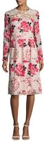Kate Spade Rosa Long-Sleeve Floral Lace-Trim Dress, Multicolor