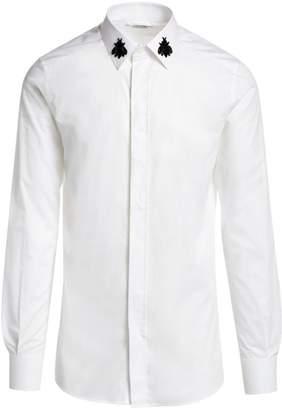 Dolce & Gabbana Embroidered Bee Collar Button-Down Shirt