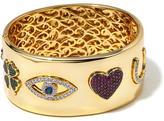 "Jewels by Jen ""Love, Luck and Strength"" 3.69ctw CZ Goldtone Pavé Symbol Hinged Bangle Bracelet"
