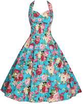 DAROJ Retro 1950's Floral Halter Neck Rockabilly Picnic Party Swing Dress XXL